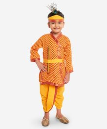KID1 Tiny Flower Print Full Sleeves Kurta With Dhoti Basuri & Mukut  - Yellow