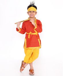 KID1 Tiny Flower Print Full Sleeves Kurta With Dhoti Basuri & Mukut  - Red