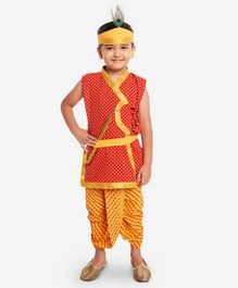KID1 Small Flower Print Sleeveless Kurta With Dhoti Basuri & Mukut - Red & Yellow