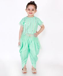 KID 1 Mirror Work Half Sleeves Top With Dhoti - Mint Green