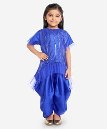 KID 1 Mirror Work Half Sleeves Top With Dhoti - Royal Blue