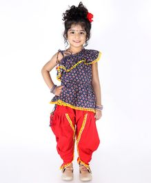 KID1 Flower Print Sleeveless Frill Peplum Top With Dhoti - Navy & Red
