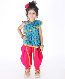 KID1 Flower Print Sleeveless Frill Peplum Top With Dhoti - Blue