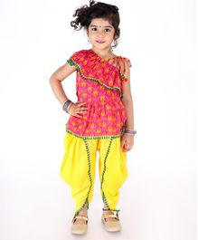 KID1 Printed Sleeveless Frill Peplum Top With Dhoti - Pink & Yellow