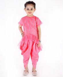 KID 1 Mirror Work Half Sleeves Top With Dhoti - Pink