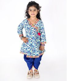 KID1 Flower Print Full Sleeves Mirror Pom-Pom Kurti & Dhoti Set - Blue