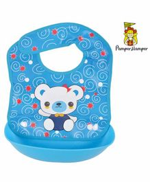 Pamper Hamper Bib with Crumb Collector Teddy Print - Blue