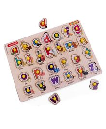 Omocha Knob & Peg Alphabet & Animal Themed Puzzle Multicolour - 26 Pieces