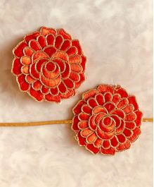 Flying Lollipop 3D Floral Resham Rakhi With Matching Hair Clip - Orange