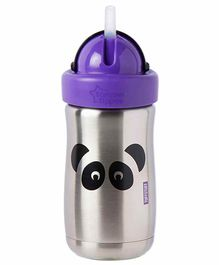 Tommee Tippee Stainless Steel Insulated Straw Sipper Panda Design Purple - 300 ml
