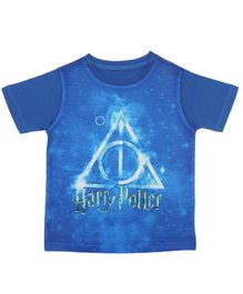Harry Potter By Crossroads Half Sleeves Text Print Tee - Blue