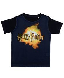 Harry Potter By Crossroads Half Sleeves Text Print Tee - Navy Blue