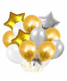 Party Propz Regular & Star Shaped Latex & Foil Balloons Golden Silver - Pack of 19