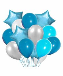 Party Propz Regular & Star Shaped Latex & Foil Balloons Blue Silver - Pack of 20