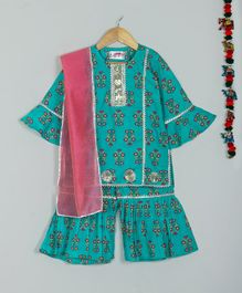 Little Bansi Three Fourth Sleeves Flower Print Kurta With Dupatta & Sharara Set - Green