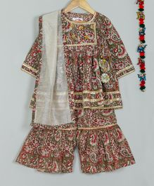 Little Bansi Three Fourth Sleeves Paisley Print Jaipuri Style Angrakha & Sharara With Dupatta - Brown