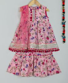 Little Bansi Floral Print Sleeveless Kurta With Dupatta & Sharara - Pink