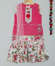 Little Bansi Schiffli Sleeveless Kurta With Dupatta & Sharara - Pink