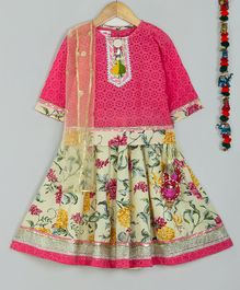 Little Bansi Schiffli Three Fourth Sleeves Choli With Flower Print Lehenga & Dupatta - Pink