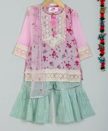 Little Bansi Three Fourth Sleeves Rose Flower Print Kurta With Dupatta & Sharara Set - Pink