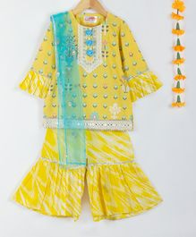 Little Bansi Three Fourth Sleeves Flower Print Kurta With Dupatta & Sharara Set - Yellow