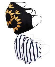 Naughty Ninos Pack Of 4 Striped Reusable Outdoor Mask - Black Blue & White