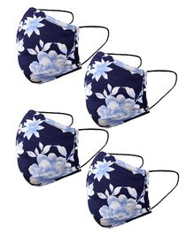 Naughty Ninos Pack Of 4 Floral Print Masks - Blue