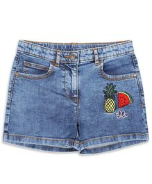 Elle Kids Pineapple Embroidered Denim Shorts - Blue