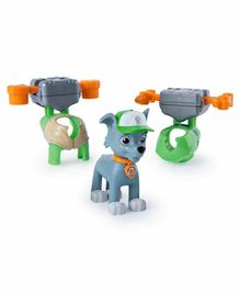 Paw Patrol Rocky Action Pack Pups with 2 Clip Ons Green Grey - Height 16.5 cm