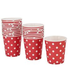 Karmallys Paper Cups Red Dotted Print - 210 ml