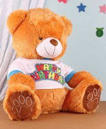 Benny & Bunny Teddy with Happy Birthday T-Shirt Brown - Height 42 cm