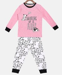 Little Marine Full Sleeves Dog Print Detailing Night Suit - Pink