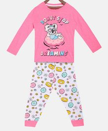 Little Marine Full Sleeves Donut Print Detailing Night Suit - Pink