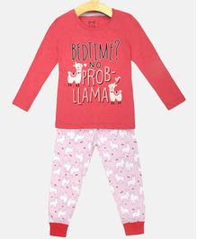 Little Marine Full Sleeves Lima Print Detailing Night Suit - Pink