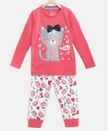 Little Marine Full Sleeves Cat Print Detailing Night Suit - Pink