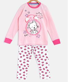 Little Marine Full Sleeves Cat Print Detailing Night Suit - Light Pink