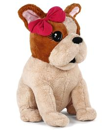 Fuzzbuzz Puppy Soft Toy with Bow Brown - Height 60 cm