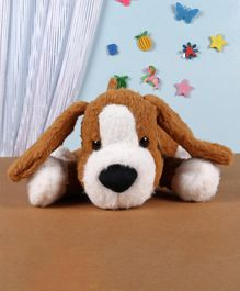 Fuzzbuzz Lying Puppy Soft Toy Brown - Length 33 cm