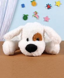 Fuzzbuzz Lying Down Dog Soft Toy White - Length 33 cm
