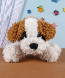 Fuzzbuzz Sitting Dog Soft Toy White - Length 25cm