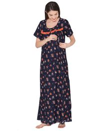 Clovia Half Sleeves Floral Print Maternity Nighty - Navy Blue