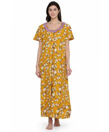 Clovia Half Sleeves Floral Print Maternity Nighty - Yellow