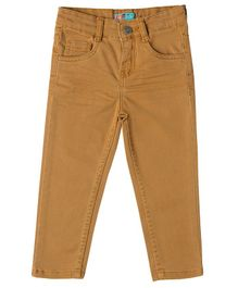 Kid Studio Solid Full Length Slim Fit Chinos Pants - Dark Brown