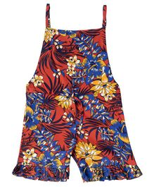 Kid Studio Flower Print Sleeveless Jumpsuit - Orange