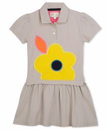 Cherry Crumble By Nitt Hyman Short Sleeves Flower Patch Dress - Grey