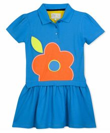 Cherry Crumble By Nitt Hyman Short Sleeves Flower Patch Dress - Blue
