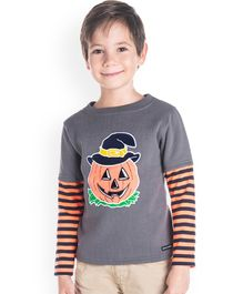 Cherry Crumble By Nitt Hyman Full Sleeves Pumpkin Patch Tee - Grey