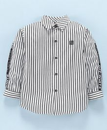 Actuel Full Sleeves Striped Shirt - White & Black