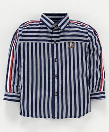 Actuel Full Sleeves Striped Shirt - Navy Blue & White