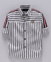 Actuel Full Sleeves Striped Shirt - Grey